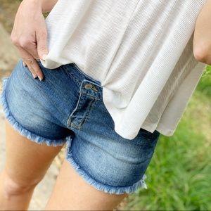 Denim cut off shorts
